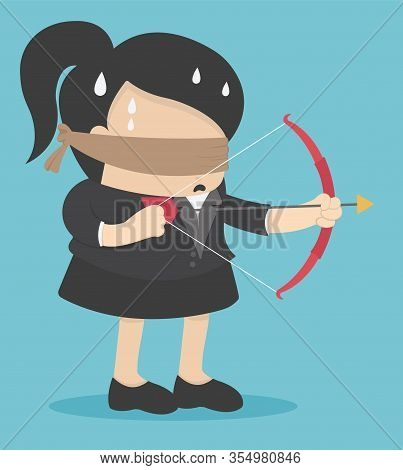 Business Concept Cartoon Illustration Blindfolded Businesswomen Are Shooting Arrows