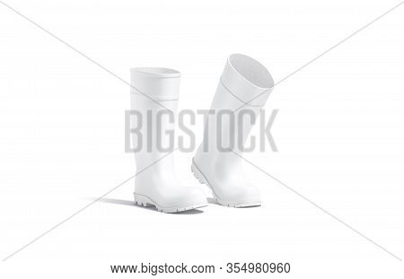 Blank White Rubber Wellington Boots Mock Up, Isolated, 3d Rendering. Empty Protective Jackboots Step