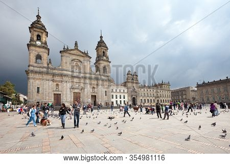 Bogota, La Candelaria, Colombia - November 26, 2011: Plaza De Bolivar And Cathedral At The Main Squa