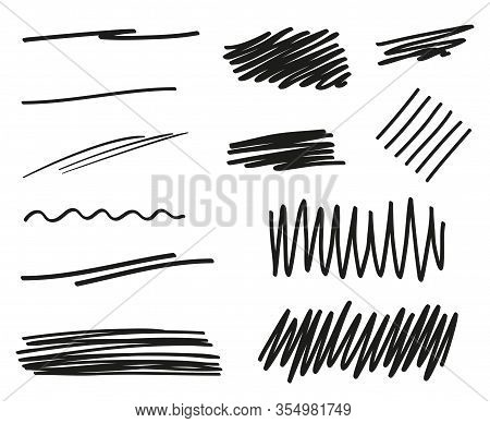 Hand Drawn Underline On White. Abstract Underlines With Array Of Lines. Stroke Chaotic Patterns. Bla