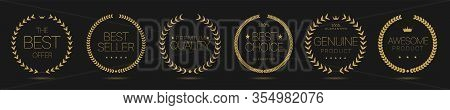 Golden Laurel Wreath Labels. Best Offer, Best Seller, Premium Quality, Genuine Product, Awesome Prod