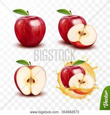 3d Realistic Transparent Isolated Vector Set, Whole And Slice Of Apple, Apple In A Splash Of Juice W
