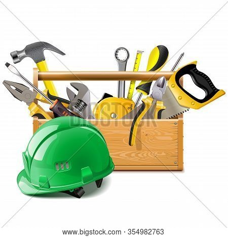 Vector Toolbox With Construction Helmet Isolated On White Background