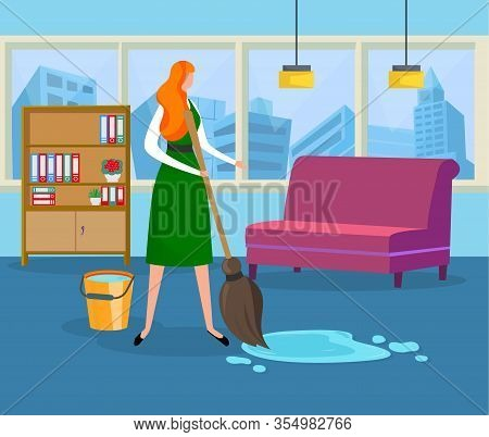 Young Woman Doing Wet Cleaning At Home Holding Tools. Girl With Broom And Bucket Removing Dirt From