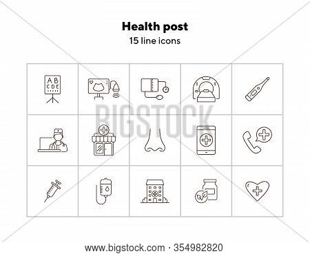 Health Post Icons. Set Of Line Icons. Online Doctor App, Tomography, Tonometer. Health Checkup Conce