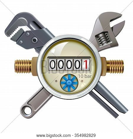 Vector Water Meter With Spanners Isolated On White Background