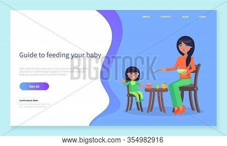 Smiling Mom Holding Spoon With Food For Little Girl Sitting At Table. Guide To Feeding Your Baby Onl