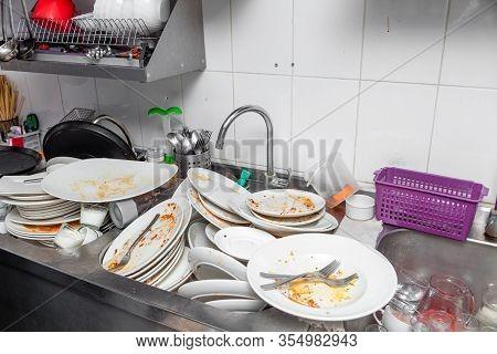 Metal Sink Full Of Dirty Dishes, Crockery, Tableware