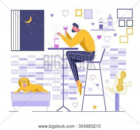 Alone Bearded Man Sitting At Table With Bottle Of Wine On Chair Holding Wineglass. Male Character In