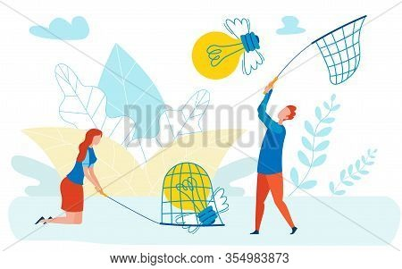 Innovations Competition Metaphor Flat Illustration. Man, Woman Catching Winged Lightbulbs With Butte