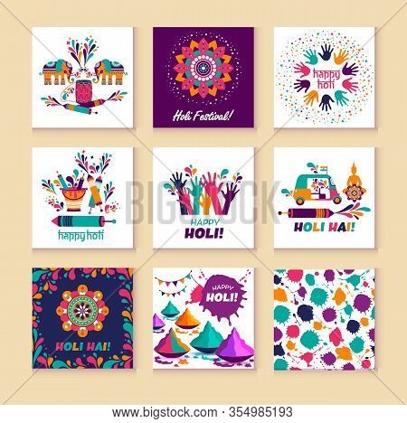 Happy Holi Vector Elements For Card Design , Happy Holi Design With Colorful Icon On 9 Cards