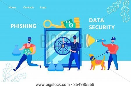 Flat Landing Page Offer Data Security Service And Protective Technologies From Phishing. Cartoon Con