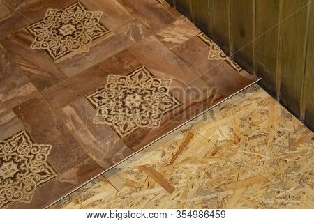 Technology For Laying Linoleum On An Osb Building Board.