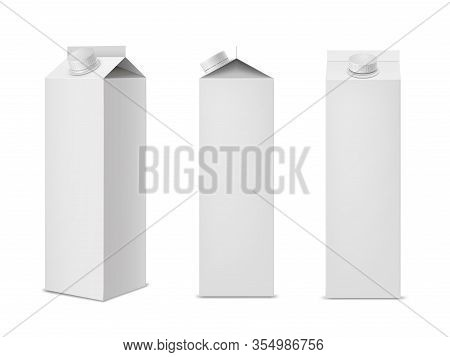 Clean White Milk Or Juice Package Mockups