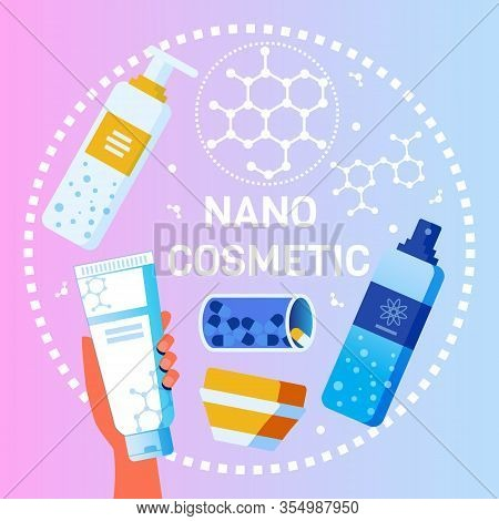 Nano Cosmetics For Body And Hair Presentation. Levitating Bottles With Samples On Gradient Space. Ha