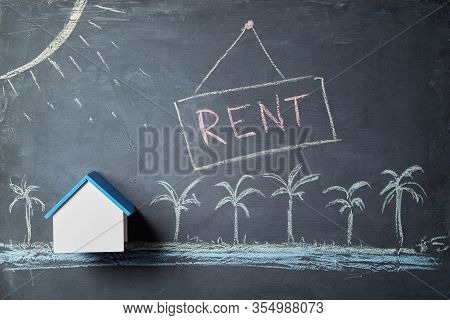 Seasonal House Rent. Booking Accommodation. Real Estate Market. Summer Vacation And Travel Concept.