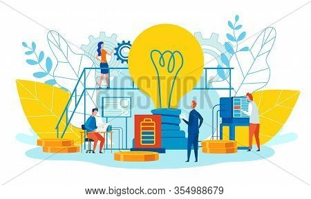 Peculiarities And Main Ways Teamwork Cartoon Flat. Men And Women Work Ideas. Foreground Is Large Inc