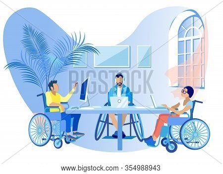 People In Wheelchairs Work Online Cartoon Flat. Social Rehabilitation For Disabled, Education And Ge