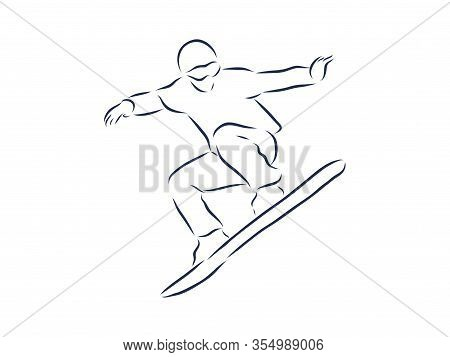 Sketch Of Snowboarding, Sport And Active Lifestyle. Snowboarder Hand Drawn