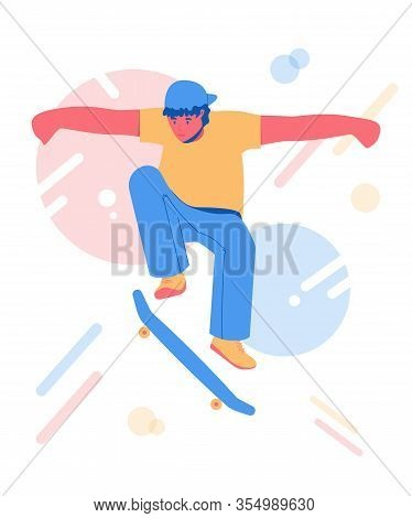 Skateboarding Teen. Young Man Riding On A Skateboard.