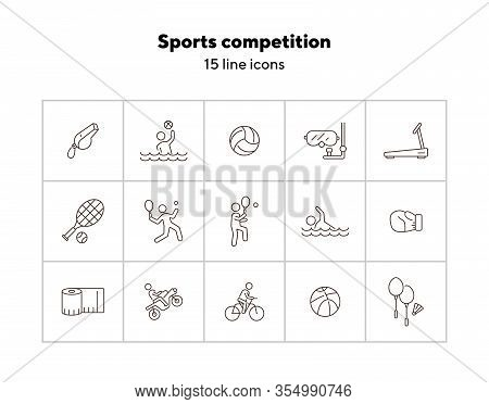 Sports Competition Line Icon Set. Water Sport, Tennis, Cycling. Physical Activity Concept. Can Be Us