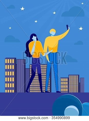 Young Romantic Loving Couple Enjoying Night Star Sky View Standing On Building Roof And Making Selfi