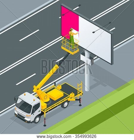 Isometric Yellow Engine Powered Scissor Lift. Worker With The Help Of An Automobile Tower Change A P