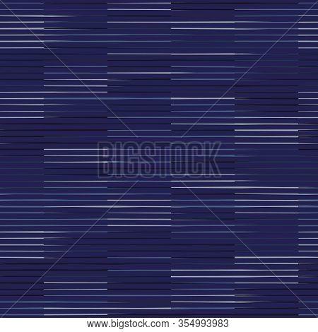 Spliced Vector Broken Stripe Texture. Variegated Mottled Check Grid Line Background. Seamless Rough