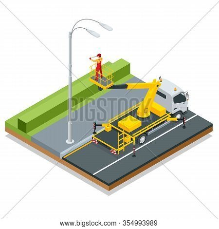 Isometric Yellow Engine Powered Scissor Lift. Worker With The Help Of An Automobile Tower Change Rep