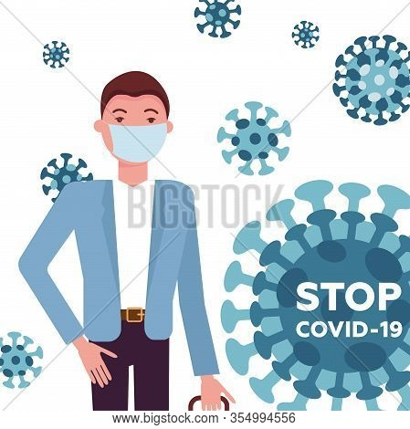 Mers-cov, Covid-19, Novel Coronavirus, 2019-ncov, Handsome Man In Suit With Blue Medical Face Mask W