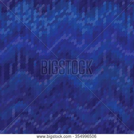 Dark Blue Denim Ikat Chevron Eamless Pattern. Texture Fabric Textile Background. Vector Cotton Melan