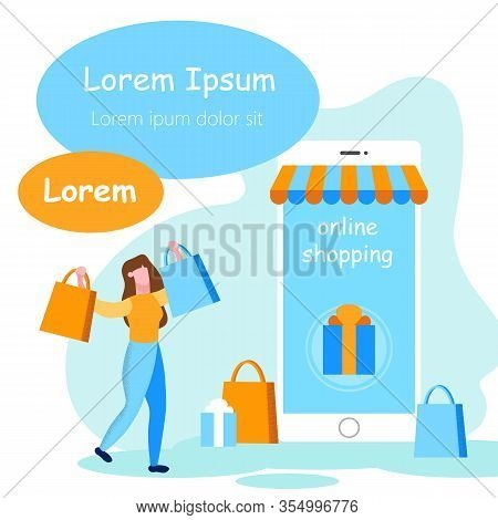 Woman With Shopping Near Smartphone. Online Shopping. Inscription On White Background. Advertising I
