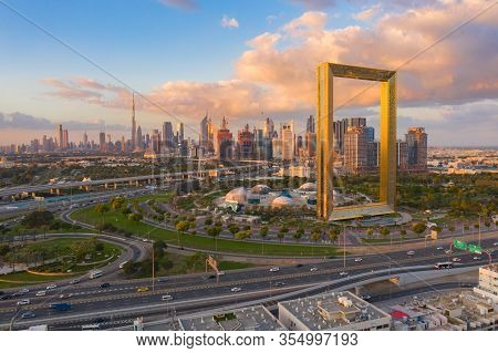 Aerial View Of Dubai Frame, Downtown Skyline, United Arab Emirates Or Uae. Financial District And Bu