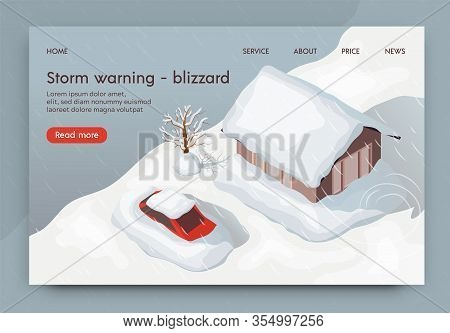 Vector Illustration Storm Warning Blizzard 3d. Natural Disaster In Winter Strong Snow Blizzard. City