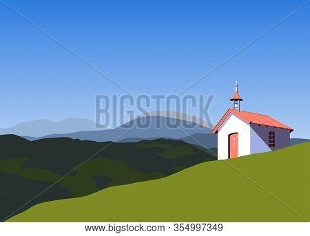 Small Rural Church In Mountains Flat Vector. Worship Village Building Minimalist Style Cartoon. Reli