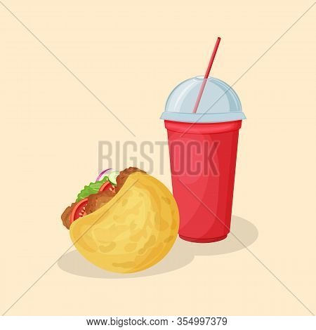 Falafel In Pita And Soda Water In A Red Cup - Cute Cartoon Colored Picture. Graphic Design Elements