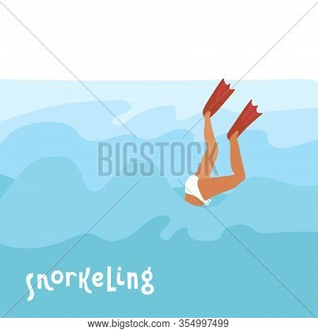 Flippers Up - Colorful Cartoon Flat Vector Style Art With A Diving Woman In Flippers And Lettering Q