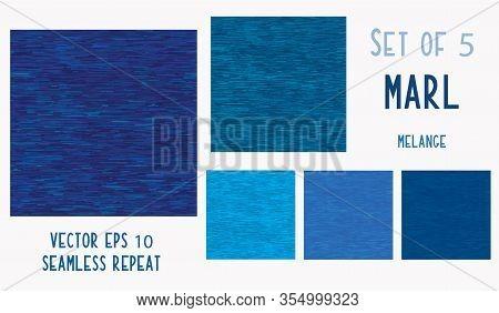 Dark Blue Denim Marl Seamless Pattern. Jeans Texture Fabric Textile Background. Vector Cotton Melang
