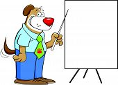 Cartoon illustration of a dog pointing to a chart poster
