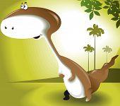 Illustration of a cartoon dinosaur in green background poster