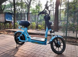 Bangalore, India - May 17, 2019 - A Shared Motorised Cycle Parked On A Sidewalk In Bangalore, India.