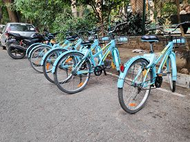 Bangalore, India - May 17, 2019 - Shared Cycles Of A Startup Company Parked Along The Road In Bangal