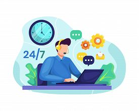 Vector Illustration Male Customer Service. Hotline Operator Advises Client, Online Global Technical