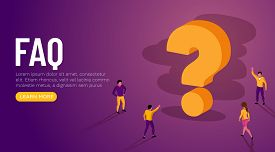 People Characters Standing Near Question Marks. Women And Men Ask Questions And Receive Answers. Onl