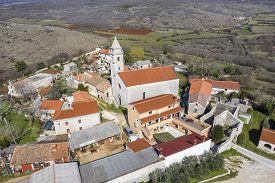 An Aerial Shot Of Mutvoran, Small Picturesque Village In South Istria, Croatia