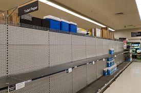 Gold Coast, Australia - March 8, 2020: Coles Supermarket Empty Toilet Paper Shelves Amid Coronavirus