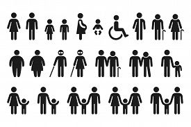 People Figures Icon Set. Bathroom Gender Signs And Health Conditions Symbols. Adults, Families With