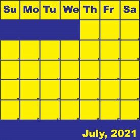 2021 July Yellow On Blue Planner Calendar With Huge Space For Notes
