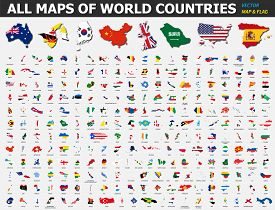 All Maps Of World Countries And Flags . Collection Of Outline Shape Of International Country Map Wit