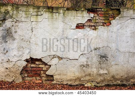 Brick Wall Cracked Plaster